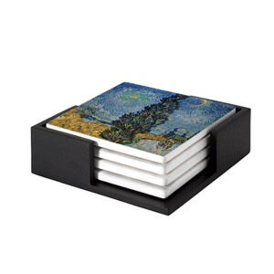 Image of our reproduction of Country Road in Provence by Night by Vincent van Gogh on ceramic coaster sets, small