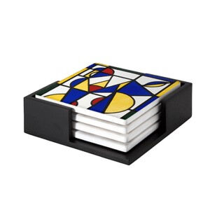 Image of our reproduction of Dance I by Theo van Doesburg on ceramic coaster sets, small