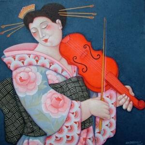 Afbeelding van onze reproductie van De rode viool by Ada Breedveld op canvas, klein