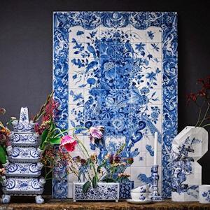 """18 eeuws Delfts Blauw Tegel Tableau """"Sommelsdijk"""""""
