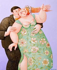 Afbeelding van onze reproductie van Een dansje wagen? by Ada Breedveld op canvas, klein