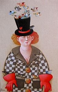Afbeelding van onze reproductie van Een goochelaar by Ada Breedveld op canvas, klein