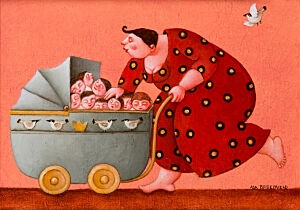 Image of our reproduction of A fully loaded Wagon by Ada Breedveld on canvas, small