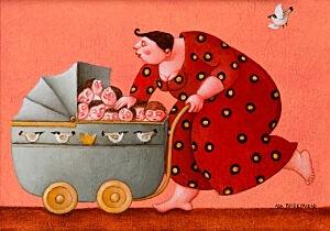 Afbeelding van onze reproductie van Een wagen vol geladen by Ada Breedveld op canvas, klein
