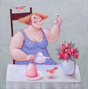 Afbeelding van onze reproductie van Elke dag een feestje by Ada Breedveld op canvas, klein
