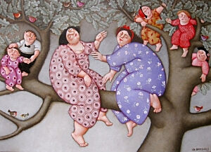Afbeelding van onze reproductie van Familie boom by Ada Breedveld op canvas, klein