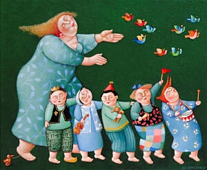 Image of our reproduction of Party by Ada Breedveld on canvas, small