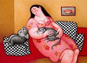 Afbeelding van onze reproductie van Flopje en Minoes by Ada Breedveld op canvas, klein