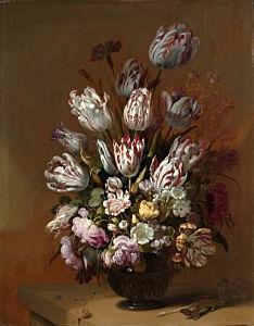 Afbeelding van onze reproductie van Stilleven met bloemen by Hans Bollongier op canvas, klein