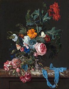 Image of our reproduction of Flower Still Life with a Timepiece by Willem van Aelst on canvas, small