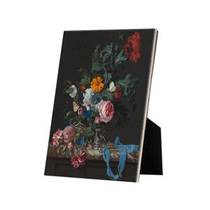 Image of our reproduction of Flower Still Life with a Timepiece by Willem van Aelst on ceramic tiles with easelback, small