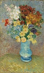 Afbeelding van onze reproductie van Bloemen in blauwe vaas by Vincent van Gogh op canvas, klein