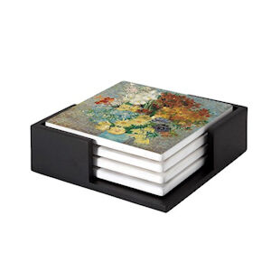 Image of our reproduction of Flowers in a Blue Vase by Vincent van Gogh on ceramic coaster sets, small