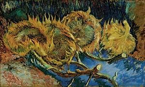 Afbeelding van onze reproductie van Vier uitgebloeide zonnebloemen by Vincent van Gogh op canvas, klein