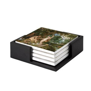 Image of our reproduction of Garden of Eden with the Fall of Men by Peter Paul Rubens on ceramic coaster sets, small