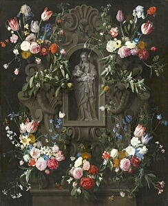 Image of our reproduction of Garland of Flowers Virgin Mary by Daniel Seghers on canvas, small