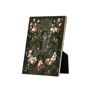 Image of our reproduction of Garland of Flowers Virgin Mary by Daniel Seghers on ceramic tiles with easelback, small