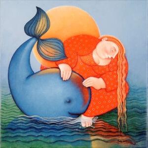 Afbeelding van onze reproductie van Gevat in glibber en traan by Ada Breedveld op canvas, klein