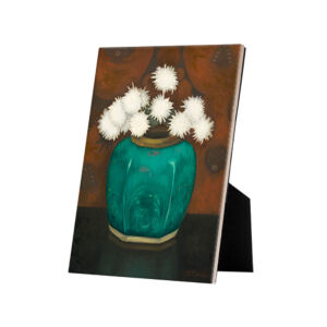 Image of our reproduction of Ginger Pot with Chrysanthemums by Jan Mankes on ceramic tiles with easelback, small