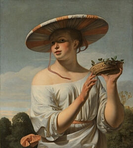 Image of our reproduction of Girl in a Large Hat by Ceasar Boetius van Everdingen on canvas, small
