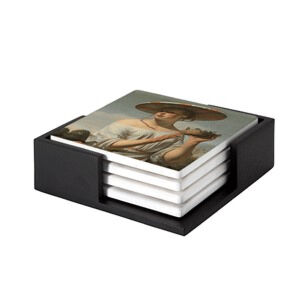 Image of our reproduction of Girl in a Large Hat by Ceasar Boetius van Everdingen on ceramic coaster sets, small