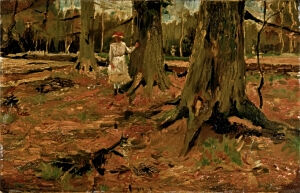 Image of our reproduction of Girl in a Wood by Vincent van Gogh on canvas, small