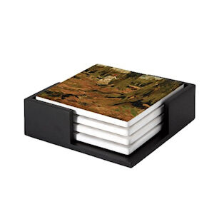 Image of our reproduction of Girl in a Wood by Vincent van Gogh on ceramic coaster sets, small