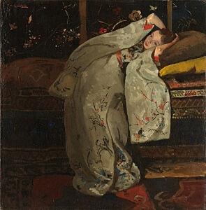 Afbeelding van onze reproductie van Meisje in witte kimono by George Hendrik Breitner op canvas, klein