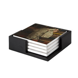 Image of our reproduction of Girl in White Kimono by George Hendrik Breitner on ceramic coaster sets, small