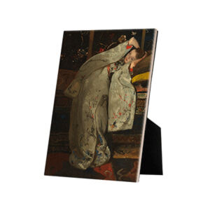 Image of our reproduction of Girl in White Kimono by George Hendrik Breitner on ceramic tiles with easelback, small