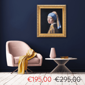 Girl with a Pearl Earring in golden frame