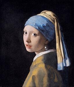 Afbeelding van onze reproductie van Het Meisje met de Parel by Johannes Vermeer op canvas, klein