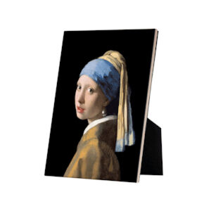 Image of our reproduction of Girl with a Pearl Earring on tile with easelback by Johannes Vermeer on ceramic tiles with easelback, small