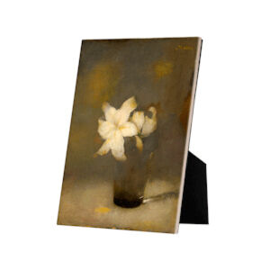 Image of our reproduction of Glass with Lily on tile with easelback by Jan Mankes on ceramic tiles with easelback, small