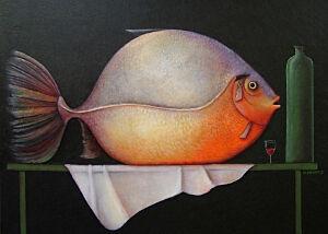 Afbeelding van onze reproductie van Grote vis by Ada Breedveld op canvas, klein