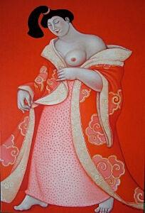 Afbeelding van onze reproductie van Hazukashiso by Ada Breedveld op canvas, klein