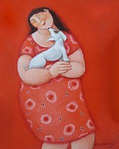 Afbeelding van onze reproductie van Honden kus by Ada Breedveld op canvas, klein