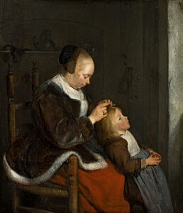 Image of our reproduction of Hunting for Lice by Gerard ter Borch on canvas, small