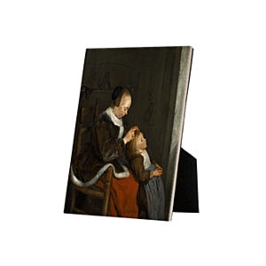 Image of our reproduction of Hunting for Lice by Gerard ter Borch on ceramic tiles with easelback, small