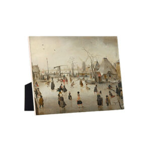 Image of our reproduction of Ice Scene by Hendrick Avercamp on ceramic tiles with easelback, small