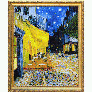 Caféterras bij nacht (Place du Forum) in prachtige goud-laurier lijst