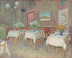 Afbeelding van onze reproductie van Interieur van een restaurant by Vincent van Gogh op canvas, klein