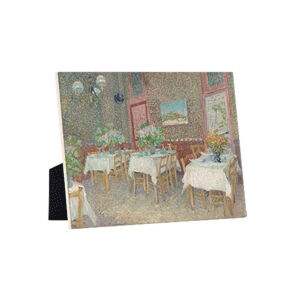 Image of our reproduction of Interior of a Restaurant by Vincent van Gogh on ceramic tiles with easelback, small