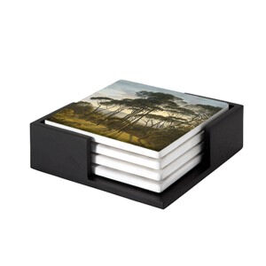 Image of our reproduction of Italian Landscape with Umbrella Pines by Hendrik Voogd on ceramic coaster sets, small