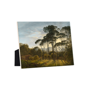 Image of our reproduction of Italian Landscape with Umbrella Pines by Hendrik Voogd on ceramic tiles with easelback, small
