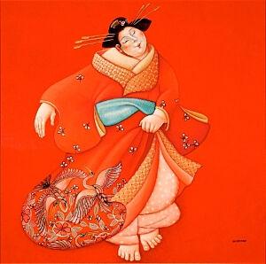 Afbeelding van onze reproductie van Japanse danseres by Ada Breedveld op canvas, klein