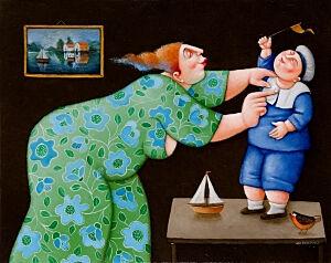 Afbeelding van onze reproductie van Jij bent een kleine zeeman by Ada Breedveld op canvas, klein