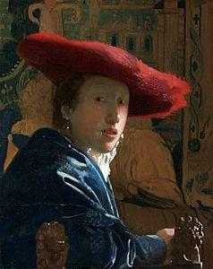 Afbeelding van onze reproductie van Meisje met de rode hoed by Johannes Vermeer op canvas, klein