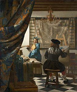 Afbeelding van onze reproductie van Allegorie op de schilderkunst by Johannes Vermeer op canvas, klein