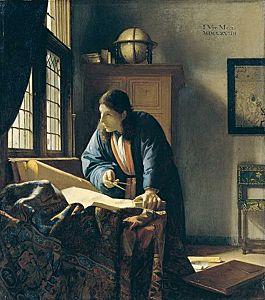 Afbeelding van onze reproductie van De geograaf by Johannes Vermeer op canvas, klein